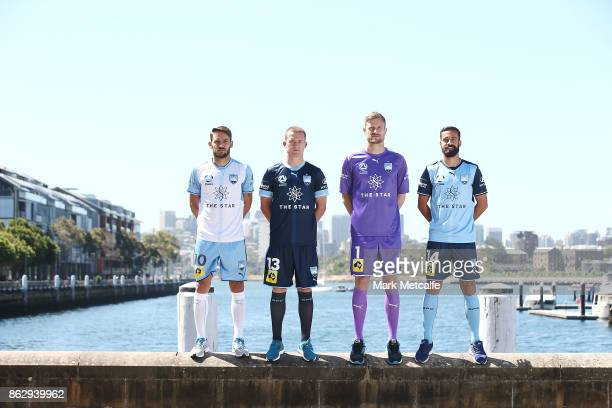 Sydney FC players Milos Ninkovic Alex Brosque Brandon O'Neill and Andrew Redmayne pose during a Sydney FC ALeague sponsorship announcement at The...