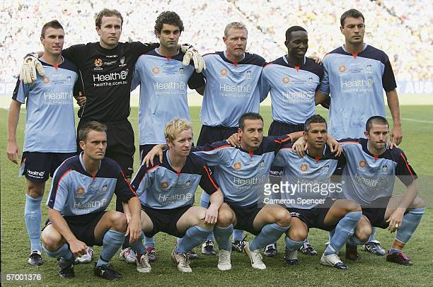 Sydney FC players pose for a photo prior to the Hyundai ALeague Grand Final between Sydney FC and the Central Coast Mariners at Aussie Stadium March...