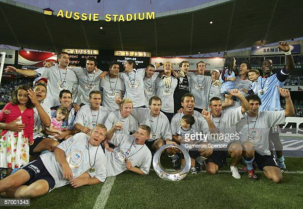 Sydney FC players pose for a team photo after winning the Hyundai ALeague Grand Final between Sydney FC and the Central Coast Mariners at Aussie...
