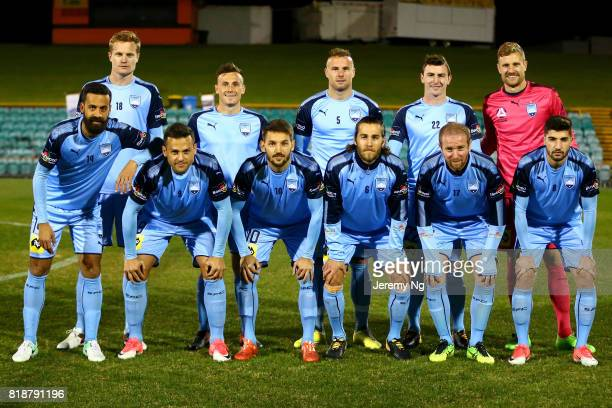 Sydney FC players pose prior to the 2017 Johnny Warren Challenge match between Sydney FC and Earlwood Wanderers at Leichhardt Oval on July 19 2017 in...