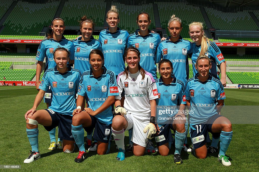Sydney FC pose prior to the W-League Grand Final between the Melbourne Victory and Sydney FC at AAMI Park on January 27, 2013 in Melbourne, Australia.