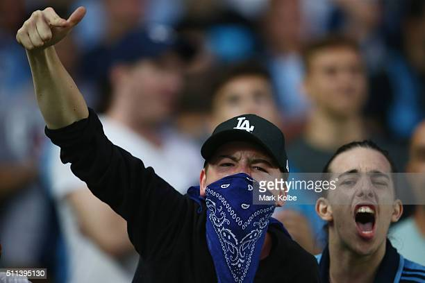 Sydney FC supporterof Sydney FC sing during the round 20 ALeague match between Sydney FC and the Western Sydney Wanderers at Allianz Stadium on...
