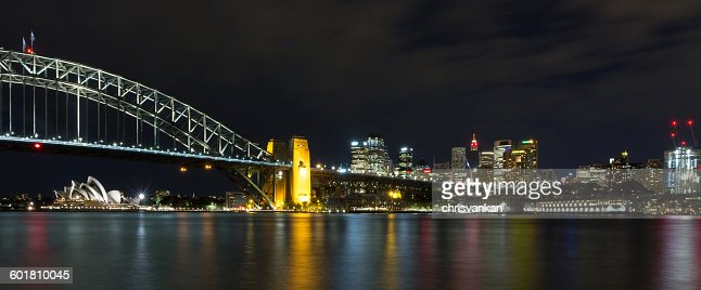 Sydney harbor bridge and skyline at night, Sydney, New South Wales, Australia