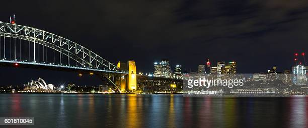 Sydney harbor bridge and skyline at night, Sydney, New South Wales, Australia