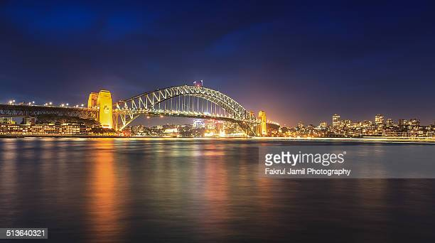 Sydney harbor bridge at dusk