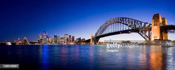 Sydney Harbour Bridge and City Skyline in Australia