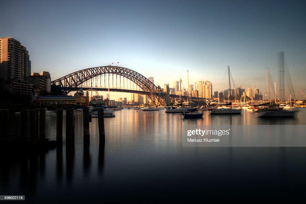 Sydney harbour bridge and city sunrise