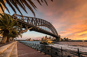 Sydney Harbour Bridge with Ferry, Opera House and Palmtrees at Dusk. Twilight warm glow in the sky.