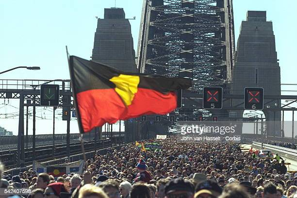 Sydney Harbour Bridge was closed to traffic for the 4th time since its construction 68 years ago in order to host the reconciliation march