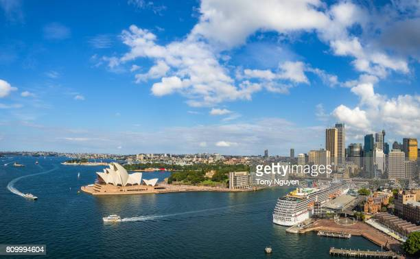 Sydney, Australia - April 17, 2017: Sydney Harbour Panorama - View from the south-eastern pylon containing the tourist lookout towards the CBD and the Opera House.
