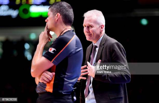 Sydney Kings coach Andrew Gaze disputes a call with the referee during the round seven NBL match between Adelaide 36ers and the Sydney Kings at...