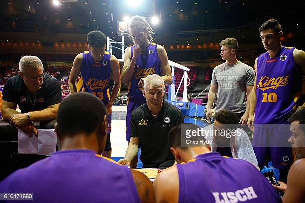 Sydney Kings coach Andrew Gaze talks to players during the Australian Basketball Challenge match between Sydney Kings and Perth Wildcats at Brisbane...