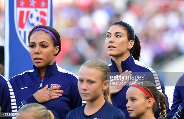 Sydney Leroux and Hope Solo of the US women's national ...