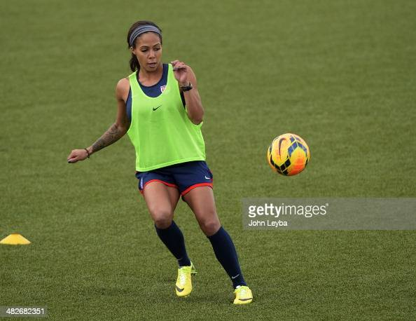 Sydney Leroux FW with the USA women's soccer team runs through drills during their practice April 3 2014 at the Colorado School of Mines as they...