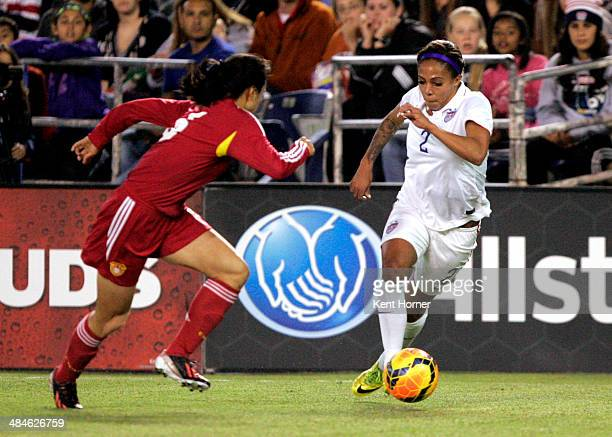 Sydney Leroux of the United States dribbles the ball to space in the first half of the game against China during an international firendly match at...