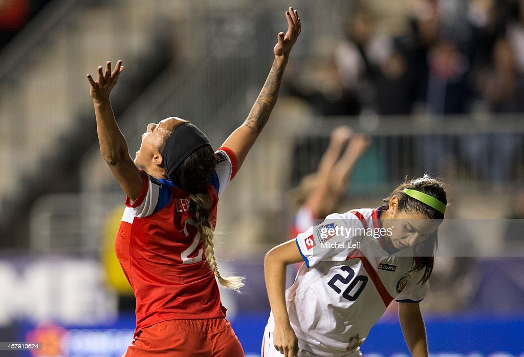 Sydney Leroux #2 of the United States reacts after scoring a goal in the second half against Costa Rica in the 2014 CONCACAF Women's Championship final on October 26, 2014 at PPL Park in Chester, Pennsylvania. The United States defeated Cosat Rica 6-0