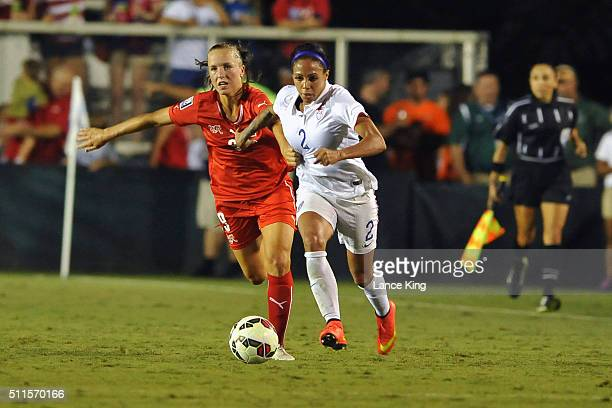 Sydney Leroux of the US women's national team in action against Lia Walti of the Swiss women's national team at WakeMed Soccer Park on August 20 2014...