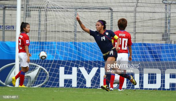 Sydney Leroux of USA celebrates after scoring the opening goal during the 2010 FIFA Women's World Cup Group D match between South Korea and USA at...