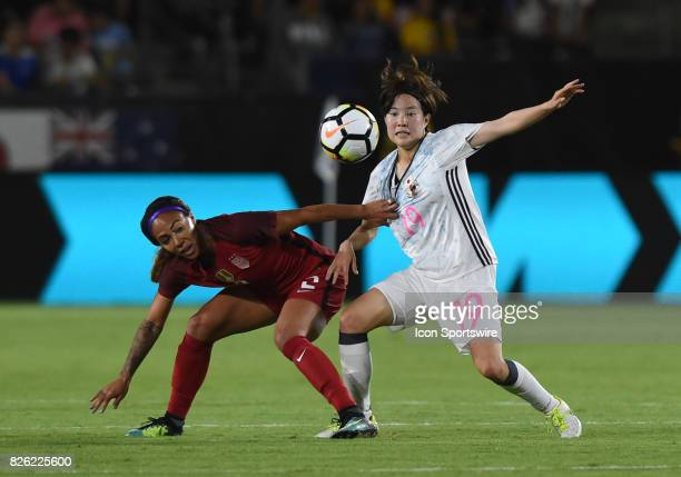 Sydney Leroux of USA grabs the jersey of Hikaru Kitagawa of Japan during the Tournament of Nations soccer match between USA and Japan on August 03...