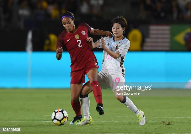Sydney Leroux of USA keeps the ball away from Hikaru Kitagawa of Japan during the Tournament of Nations soccer match between USA and Japan on August...