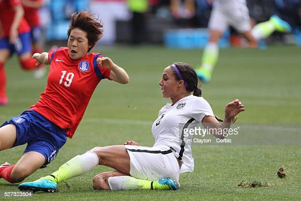 Sydney Leroux US Women's National Team shoots past Hyeri Kim Korean Republic during the US Women's National Team Vs Korean Republic International...