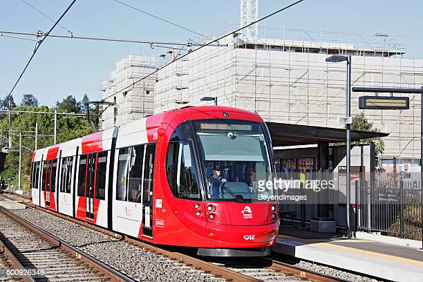 Sydney Light Rail tram at Lewisham West new housing development