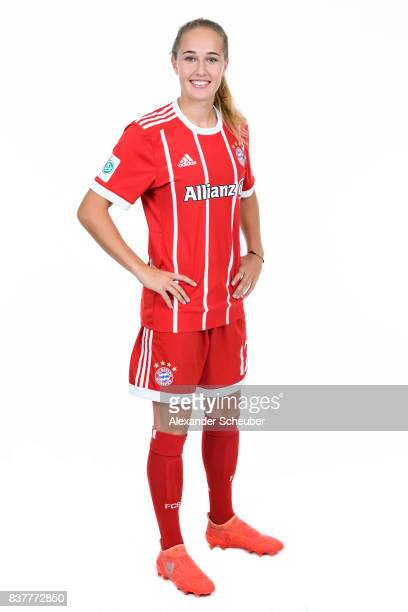 Sydney Lohmann of Bayern Muenchen poses during the Allianz Frauen Bundesliga Club Tour at FC Bayern Muenchen Campus on August 20 2017 in Munich...