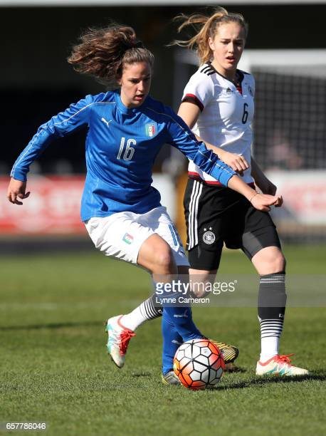 Sydney Lohmann of Germany and Martine Tomaselli of Italy during the Germany v Italy U17 Girl's Elite Round at Keys Park on March 25 2017 in Cannock...