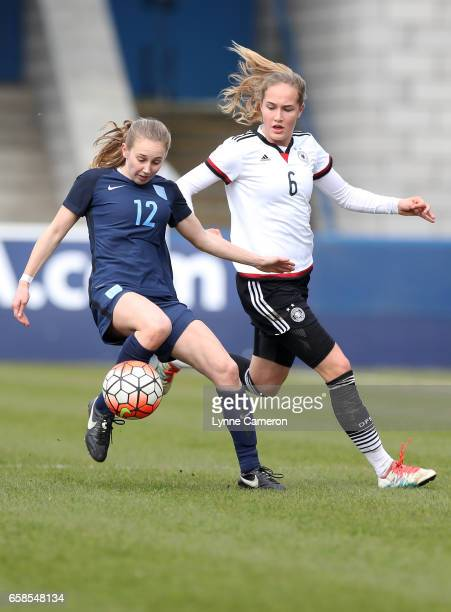 Sydney Lohmann of Germany and Stina Johannes of Germany during the England v Germany U17 Girl's Elite Round match on March 27 2017 in Telford England