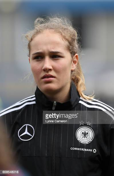Sydney Lohmann of Germany before the England v Germany U17 Girl's Elite Round match on March 27 2017 in Telford England