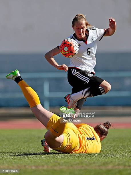 Sydney Lohmann of Germany callenges Justine Lerond of France during the match of the U16 Girl's Germany v U16 Girl's France UEFA Tournament on...