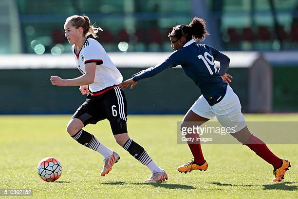 Sydney Lohmann of Germany callenges Melvine Malard of France during the match of the U16 Girl's Germany v U16 Girl's France UEFA Tournament on...
