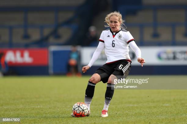Sydney Lohmann of Germany during the England v Germany U17 Girl's Elite Round match on March 27 2017 in Telford England