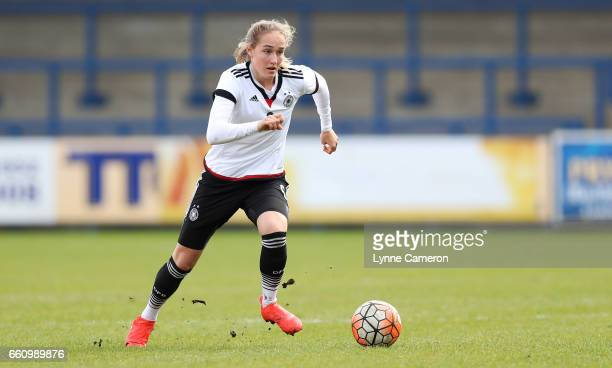 Sydney Lohmann of Germany during the UEFA U17 Women's Championship Qualifier match between Germany and Poland at New Bucks Head stadium on March 30...