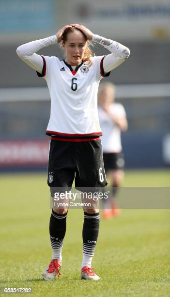 Sydney Lohmann of Germany reacts during the England v Germany U17 Girl's Elite Round match on March 27 2017 in Telford England