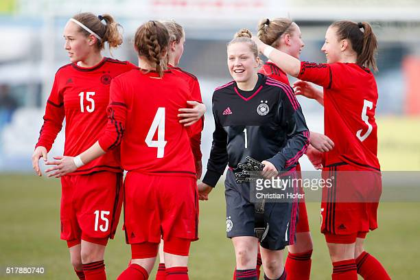 Sydney Lohmann Sophia Kleinherne goalkeeper Leonie Doege Annalena Rieke and Tanja Pawollek celebrate after winning the U17 Girl's Euro Qualifier...