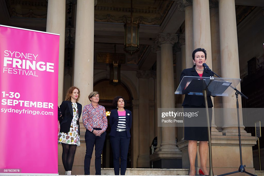 Sydney Lord Mayor Clover Moore launched the Sydney Fringe 2016 as Sydneys Town Hall is turned pink The Sydney Fringe is an alternative arts and...