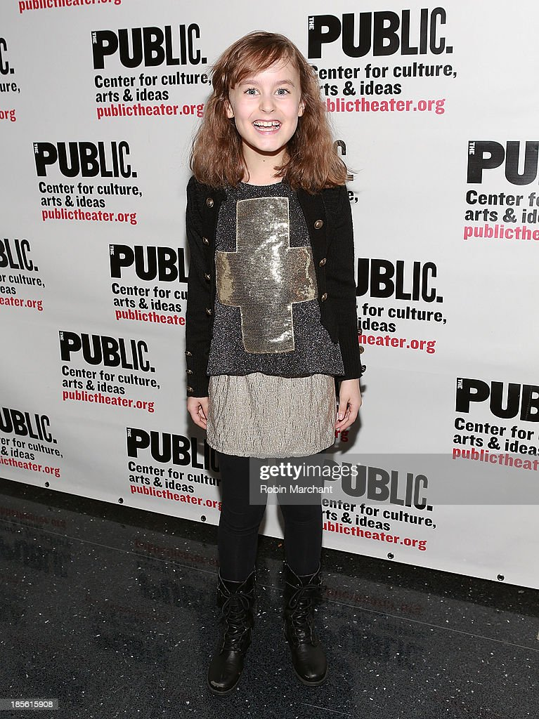 Sydney Lucas attends the opening night celebration of 'Fun Home' at The Public Theater on October 22, 2013 in New York City.