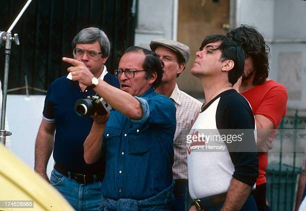 Sydney Lumet is photographed on the set of the movie 'Daniel' November 1 1982 in New York City talking to his crew