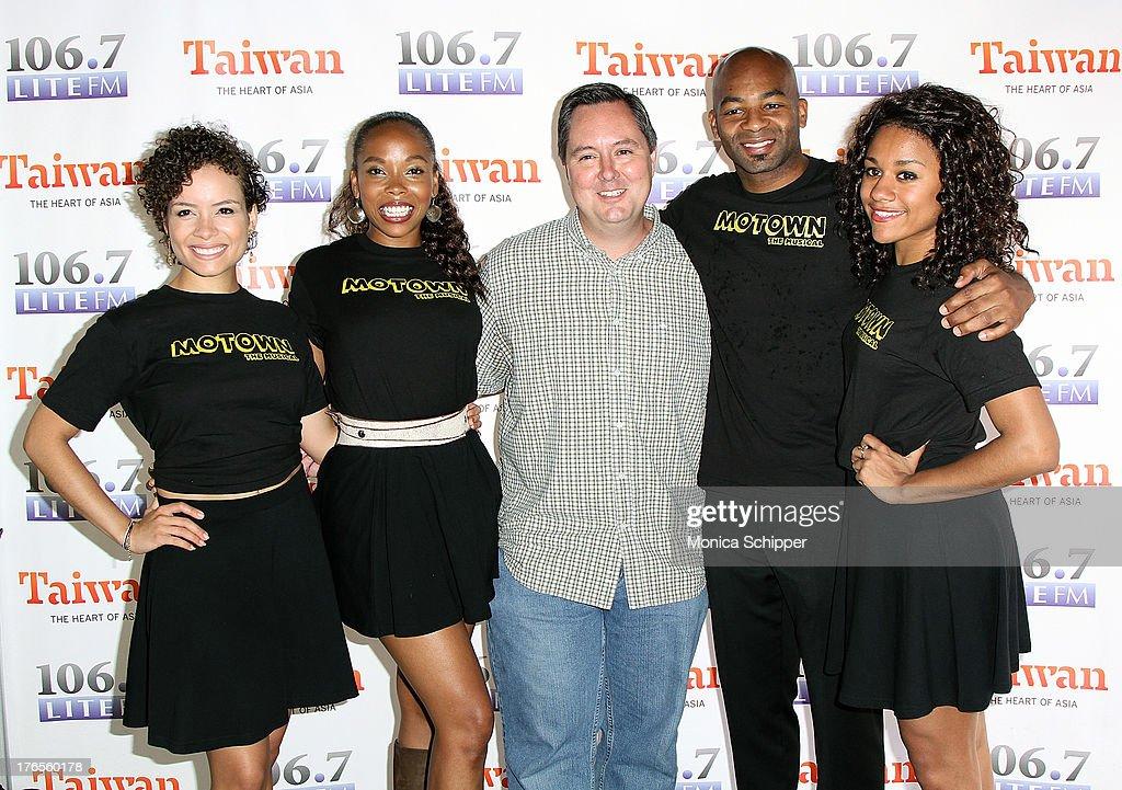 Sydney Morton and Dionne Figgins of Motown The Musical 1067 Lite FM's Rich Kaminski Brandon Victor Dixon and Rebecca E Covington of Motown The...