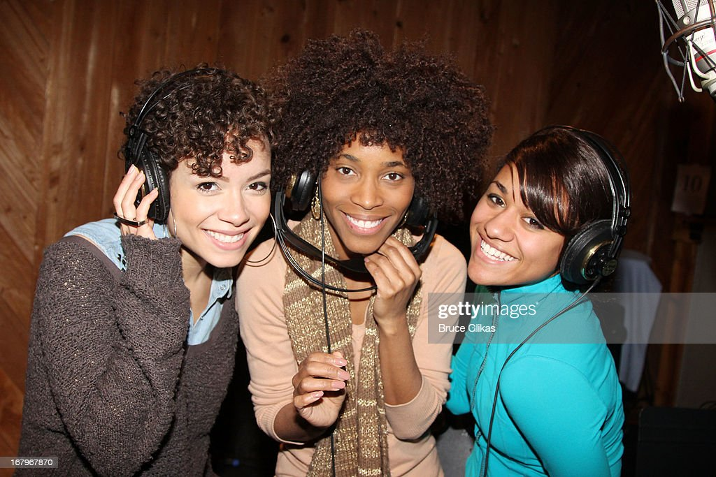 Sydney Morton, Valisia LeKae and Ariana DeBose attend Broadway's 'Motown:The Musical' Original Broadway Cast Recording Session at MSR Studios in Times Square on May 2, 2013 in New York City.