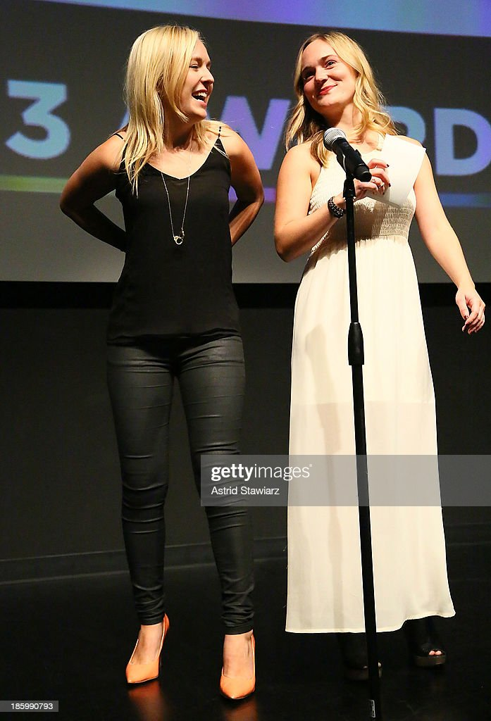 Sydney Nikols and Julia Mattison accept the MTV Comedy Development Deal award during the awards ceremony at the 9th Annual New York Television festival at SVA Theater on October 26, 2013 in New York City.