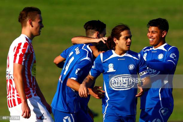 Sydney Olympic FC celebrates a goal by Mohammad Rahimi during the NSW NPL Men's match between Sydney Olympic FC and Parramatta FC on June 18 2017 in...