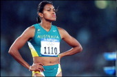 Sydney Olympic Games Women's 400m heats in Sydney Australia on September 22 2000 Cathy Freeman