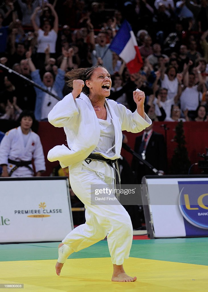 Sydney Olympic silver medallist and former World champion, Celine Lebrun of France, is delighted to win the u78kgs bronze medal at the Paris Tournament on day 2, Sunday, February 10, 2008 at the Palais Omnisports de Paris Bercy Sports Arena, Bercy, Paris, France.