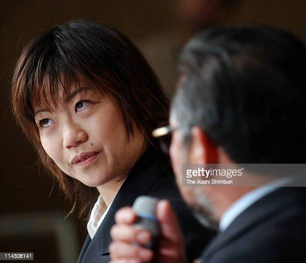 Sydney Olympic Women's marathon gold medalist Naoko Takahashi is seen during the press conference after the Japan Association of Athletic Federation...