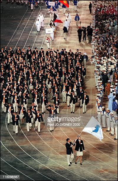 Sydney Olympics opening ceremony in Sydney Australia on September 15 2000 South and North Korean delegations parade together for the first time
