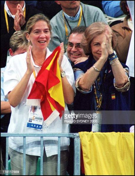 Sydney Olympics Queen Sofia and Infant Cristina watching Handball game Spain/Germany in Sydney Australia on September 26 2000 Queen Sofia and Infant...