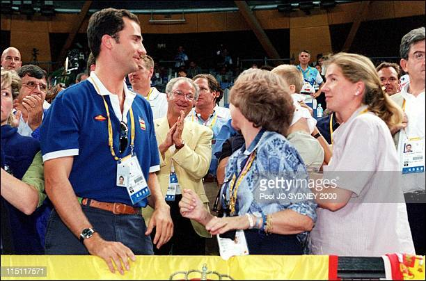 Sydney Olympics Royals at Handball game Sweden 32 / Spain 25 in Sydney Australia on September 29 2000 Prince Felipe Queen Sofia King Karl Gustav and...