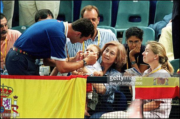 Sydney Olympics Royals at Handball game Sweden 32 / Spain 25 in Sydney Australia on September 29 2000 Prince Felipe Queen Sofia Infant Cristina and...